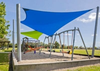 Blue and Green Playground Shade Sails