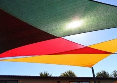 Colourful Overlapping Shade Sails