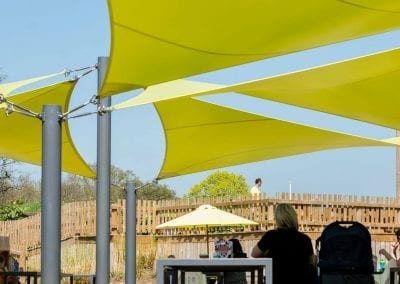 Green Fabric Shade Sails at Chobham Adventure Farm