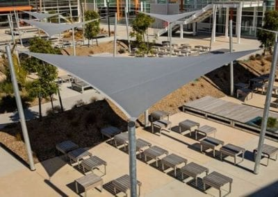 Grey Shade Sails Covering Outdoor Seats