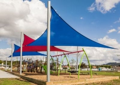Blue and Red Playground Shade Sails
