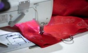 Red Shade Sail Stitching